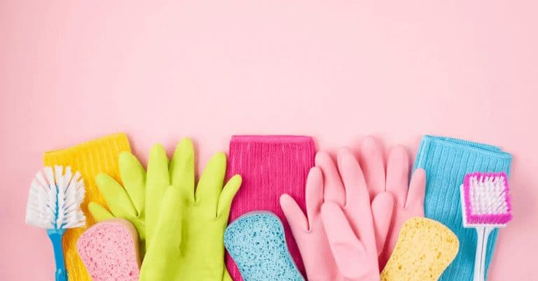 Cleaning tools with pink background