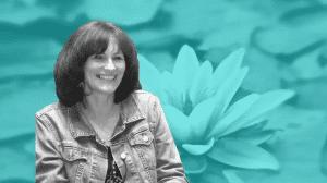 Julie Parish on a lotus flower background