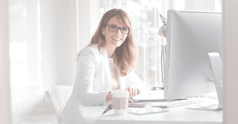 woman working happily in the office