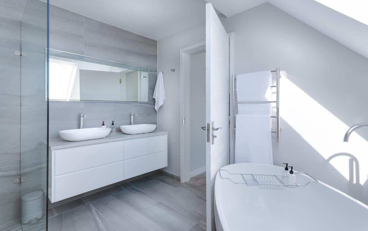 white and grey modern bathroom
