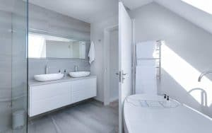 white and grey modern bathroom