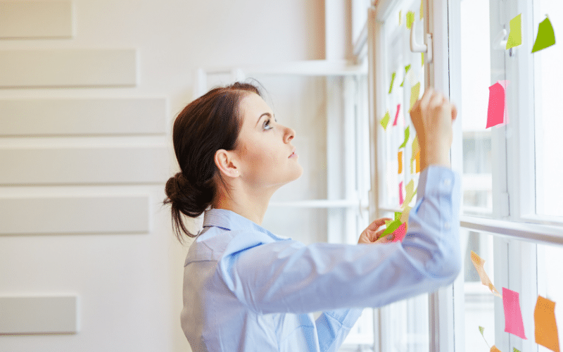 Female business owner planning